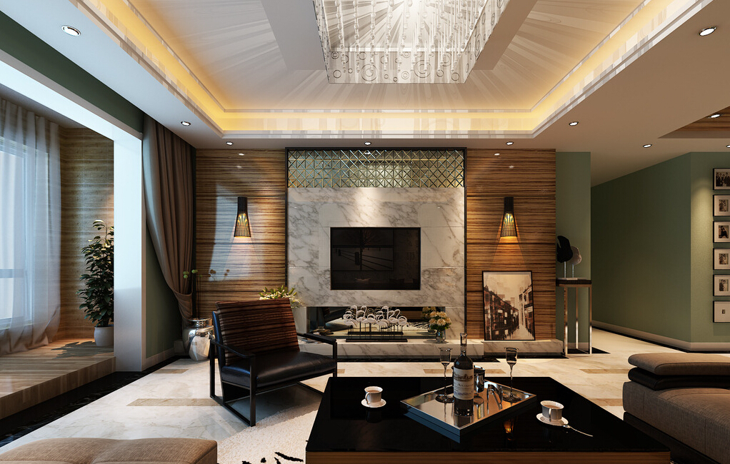 modern-living-room-ceiling-lights-and-wall-lights-3d-house ...